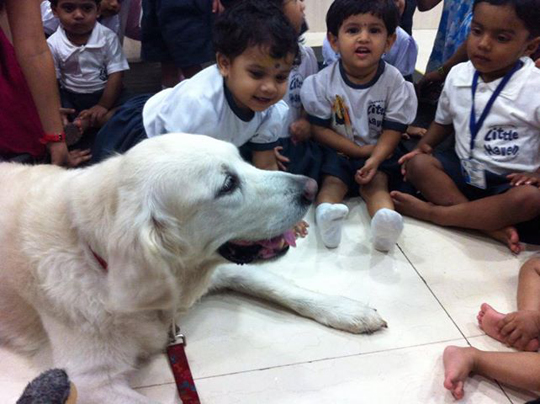 Angel with kids at Little Haven Nursery, Chembur