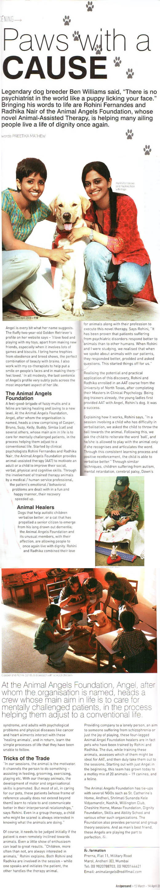 Article on Animal Angels Foundation in &persand magazine; Paws with a cause - Preetika Mathew on March 15, 2008