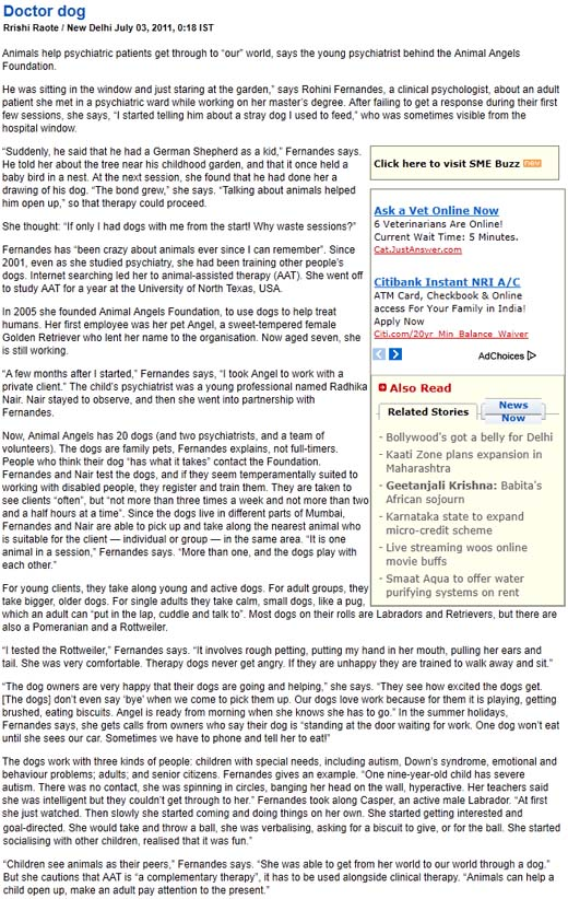 Business Standard article on Animal Angels Foundation - July 3, 2011