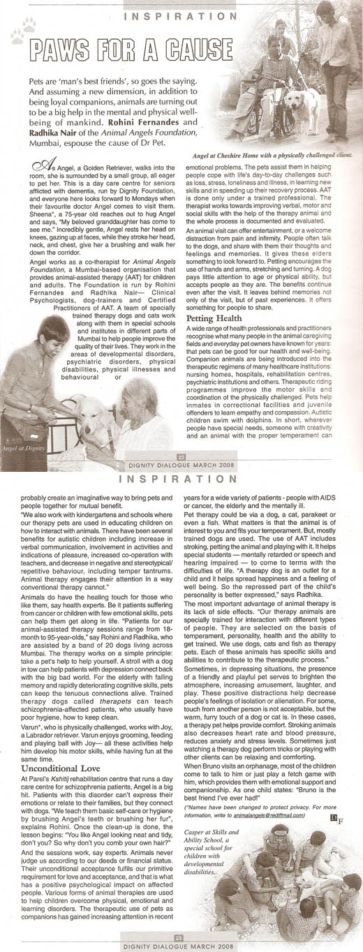 Dignity Dialogue magazine article on Animal Angels Foundation - March 2008