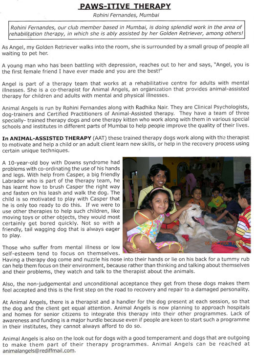 Golden Retriever's Club of India - Paws-itive Therapy