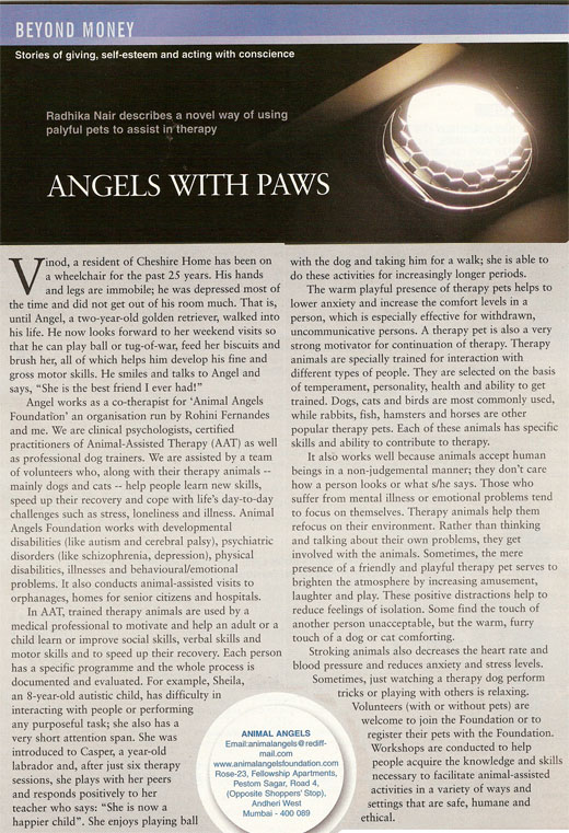 Article on Animal Angels Foundation in moneyLIFE magazine; Angels with paws - Radhika Nair on April 12, 2007