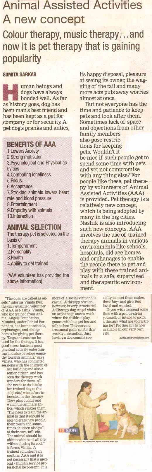 Nasik Times - Animal Assisted Activities - A New Concept