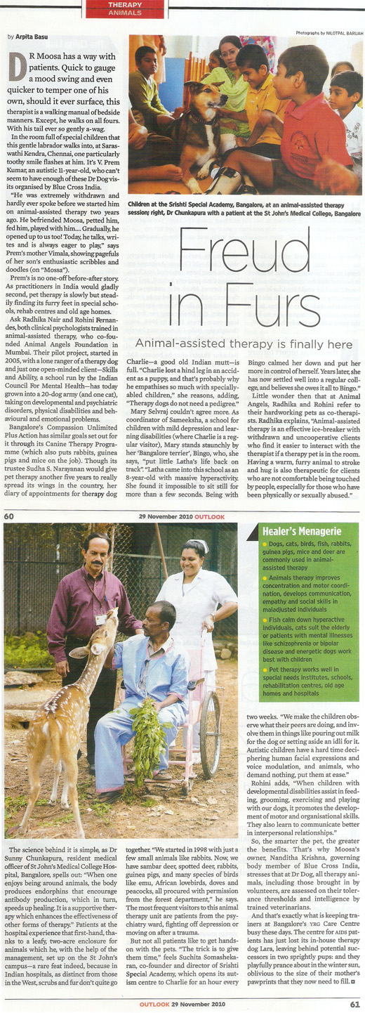 Outlook India article on Animal Angels Foundation - November 29, 2010