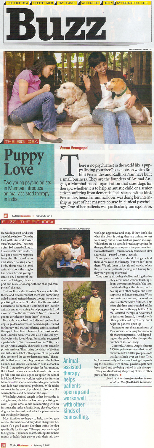 Outlook Business article on Animal Angels Foundation - February 5, 2011
