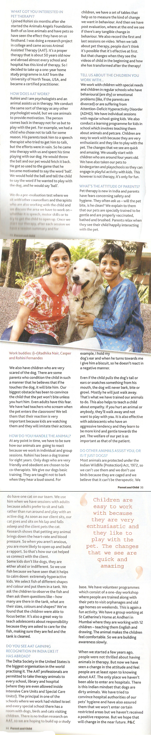 Eurokids Parent & Child magazine article on Animal Angels Foundation - March 2012