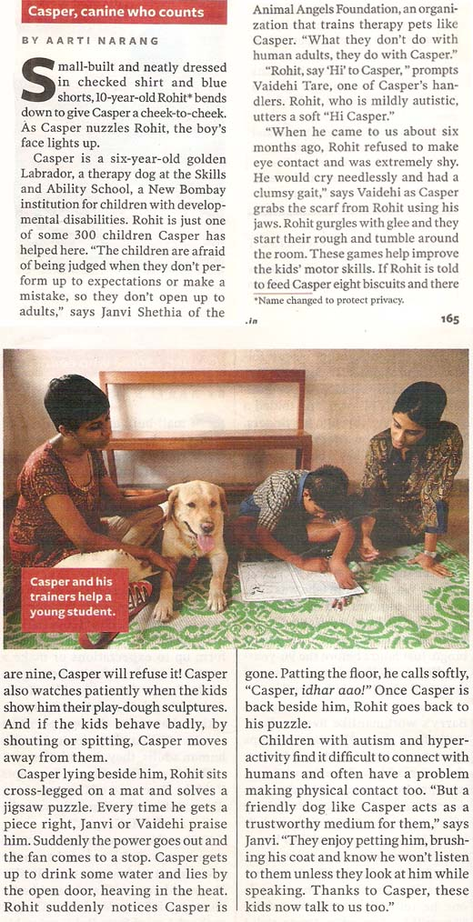 Animal Angels Foundation featured in Reader's Digest - November 2011