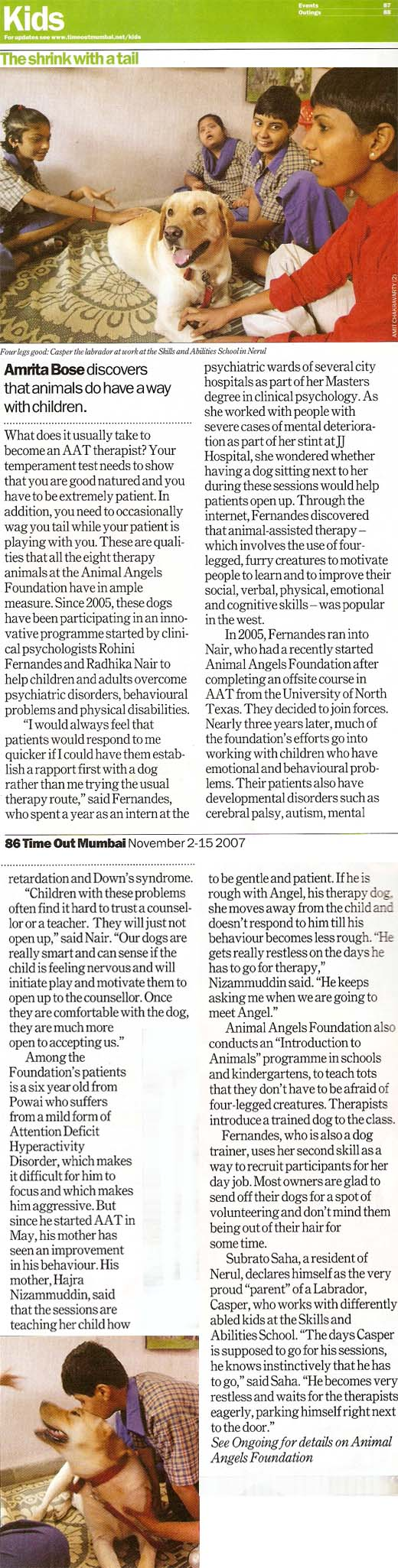 TimeOut article on Animal Angels Foundation - November 2-15 issue, 2007